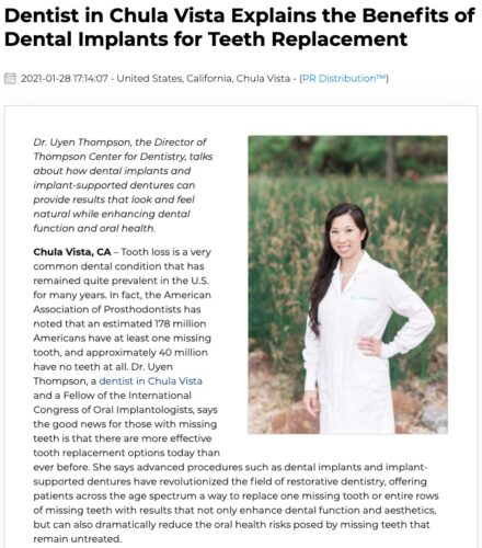 Dr. Uyen Thompson, a dentist in Chula Vista and the Eastlake area, explains the many advantages of dental implants for individuals with missing teeth.